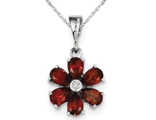 Natural Garnet 2.65 Carat (ctw) Flower Pendant Necklace in Sterling Silver and Chain