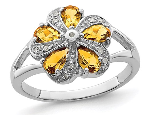 Citrine Flower Ring 1.00 Carat (ctw) in Sterling Silver