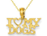 I LOVE MY DOGS Pendant Necklace in 14K Yellow Gold with Chain