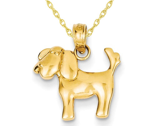14K Yellow Gold Polished Dog Pendant Necklace with Chain