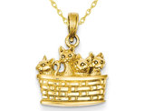 14K Yellow Gold Kittens in a Basket Pendant Necklace with Chain