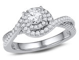 3/8 Carat (ctw Color H-I Clarity I1-I2) Diamond Engagement Infinity Ring in 10K White Gold