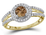 1.00 Carat (G-H Clarity I2-I3) Enhanced Champagne Diamond Engagement Ring in 10K Yellow Gold