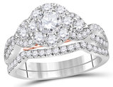 Diamond Engagement Ring Bridal Wedding Set 1.45 Carat (Color G-H, SI2) in 14K White Gold