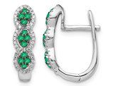 Natural Green Emerald Hoop Earrings 3/10 Carat (ctw) in 14K White Gold with Diamonds 1/4 Carat (ctw)