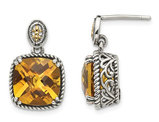 Natural Citrine 7.20 Carat (ctw) Post Drop Earrings in Sterling Silver with 14K Gold Accents