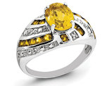 Sterling Silver Natural Citrine Ring 2.20 Carat (ctw) with Accent Diamonds
