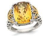 Sterling Silver with 14K Gold Accents Antiqued Citrine Ring