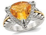 4.30 Carat (ctw) Trillion Cut Citrine Ring in Sterling Silver with 14K Gold Accents
