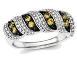 1/3 Carat (ctw) Natural Citrine Band Ring in Black Rhodium Sterling Silver