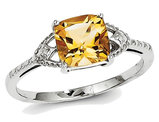 Sterling Silver Rhodium Plated 1.10 Carat (ctw) Citrine Ring