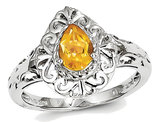 Sterling Silver 1/2 Carat (ctw) Teardrop Filigree Citrine Ring