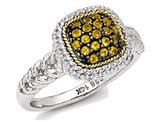 1/3 Carat (ctw) Natural Citrine Cluster Ring in Black Rhodium Sterling Silver