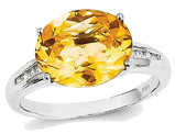4.00 Carat (ctw) Oval Cut Solitaire Citrine Ring with Accent Diamonds in 14K White Gold