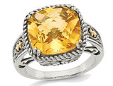 5.85 Carat (ctw) Antiqued Natural Citrine Ring Sterling Silver with 14K Gold Accents