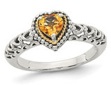 Antiqued Natural Citrine Heart Ring in Sterling Silver with 14K Gold Accents