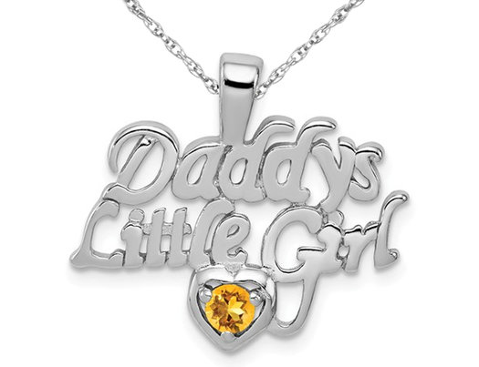 Daddys Little Girl Charm Pendant Necklace with Citrine in Sterling Silver with Chain