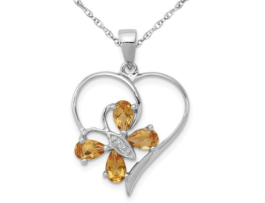 2/3 Carat (ctw) Citrine Butterfly Heart Pendant Necklace in Sterling Silver with Chain