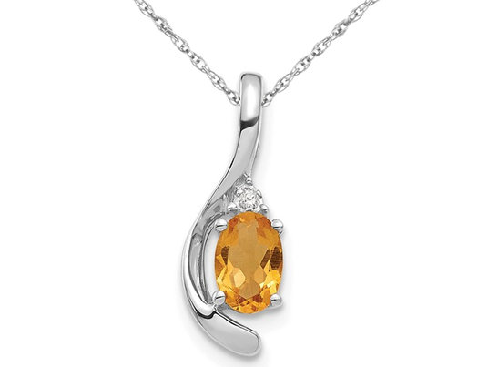 14K White Gold Solitaire Citrine Pendant Necklace 2/5 Carat (ctw) with Chain