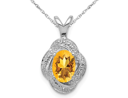 4/5 Carat (ctw) Citrine Drop Halo Pendant Necklace in Sterling Silver with Chain