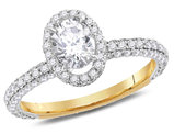 Halo Diamond Engagement Ring 1.75 Carat (ctw G-H , I1) in 14K Yellow Gold
