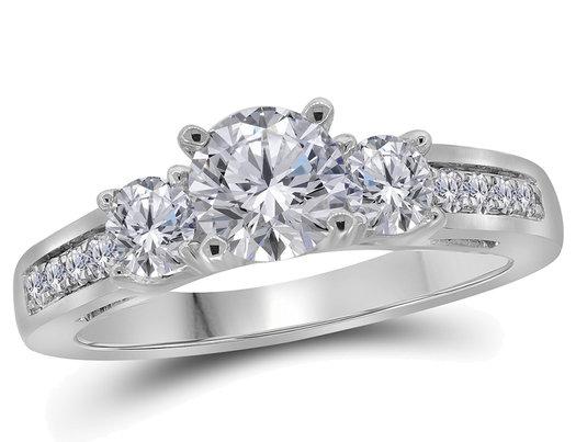 Three Stone Diamond Anniversary Engagement Ring 1.25 Carat (ctw) G-H, I1) in 14K White Gold