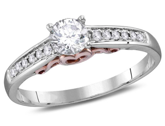 Diamond Engagement Ring 1/2 Carat (ctw Color G-H Clarity I1) in 14K White Gold