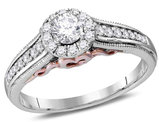 Halo Diamond Engagement Ring 1/2 Carat (ctw Color G-H Clarity I2) in 14K White Gold