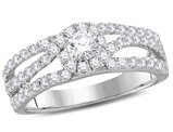 Diamond Engagement Ring 0.95 Carat (ctw  H-I , I1-I2) in 14K White Gold