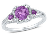 Ladies Sterling Silver Lab Created Amethyst Ring 7/8 Carat (ctw) with Accent Diamonds