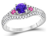 Sterling Silver Lab Created Amethyst Ring 5/8 Carat (ctw) with Pink Diamonds