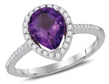 Natural Pear Amethyst 1.30 Carat (ctw) and Diamond Ring in 14K White Gold