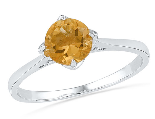 3/4 Carat (ctw) Lab Created Yellow Citrine Solitaire Ring in Sterling Silver