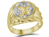 Mens Diamond Eagle Cluster Ring 1/10 Carat (ctw) in 10K Yellow Gold