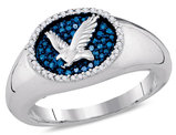 Mens Diamond Eagle Cluster Ring in 10K White Gold