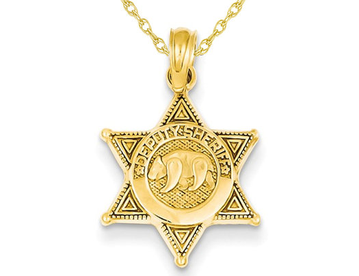 Deputy Sherif Badge with Bear Pendant Necklace in 14K Yellow Gold with Chain