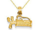 14K Yellow Gold Polished Golf Bag with Clubs Charm Pendant Necklace with Chain