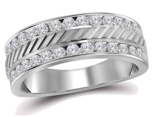 Men's Diamond Anniversary Wedding Band 1/4 Carat (ctw G-H, I1-I2) in 14K White Gold