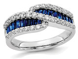 1.20 Carat (ctw) Natural Blue Sapphire Ring in 14K White Gold with 1/2 Carat (ctw) Diamonds