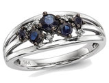 1/2 Carat (ctw) Natural Blue Sapphire Ring in 14K White Gold