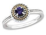 1/3 Carat (ctw) Lab Created Blue Sapphire Ring in Sterling Silver with 14K Gold Accents