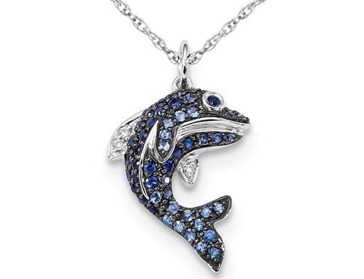 1/2 Carat (ctw) Natural Blue Sapphire Dolphin Pendant Necklace in 14K White Gold with Chain