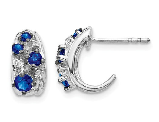 1/2 Carat (ctw) Natural Blue Sapphire Earrings in 14K White Gold with Accent Diamonds