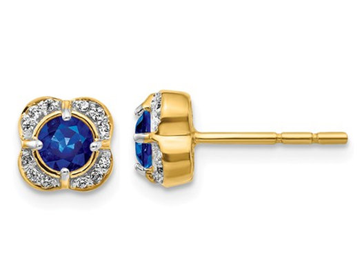 1/2 Carat (ctw) Natural Blue Sapphire Post Earrings in 14K Yellow Gold