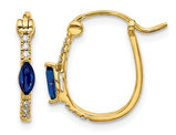 1/3 Carat (ctw) Natural Blue Sapphire Hoop Earrings in 14K Yellow Gold with Accent Diamonds
