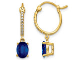 1.50 Carat (ctw) Natural Blue Sapphire Dangle Hoop Earrings in 14K Yellow Gold with Diamonds