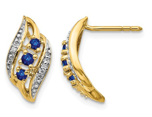 1/4 Carat (ctw) Natural Blue Sapphire Post Earrings in 14K Yellow Gold
