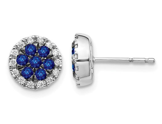 2/5 Carat (ctw) Natural Blue Sapphire Post Earrings in 14K White Gold with Diamonds