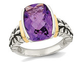 5.20 Carat (ctw) Natural Amethyst Ring in Sterling Silver with 14K Gold Accents