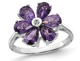 2.25 Carat (ctw) Natural Amethyst Flower Ring in Sterling Silver